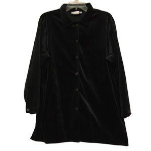 DVF Jet Black Velvet Long Sleeve Tunic Blouse